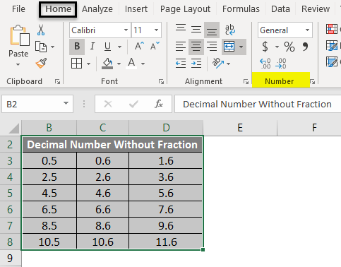 Excel Fraction Example 1-2