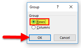 Select Row and click ok