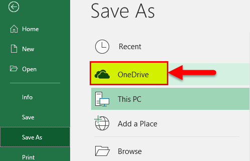 Excel OneDrive Step 1-3