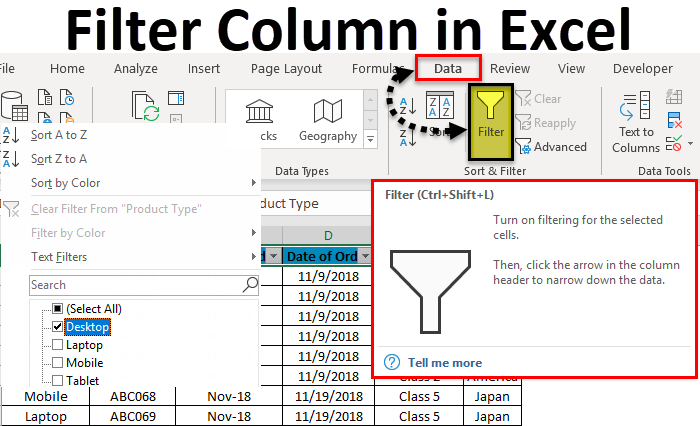 Filter Column in Excel
