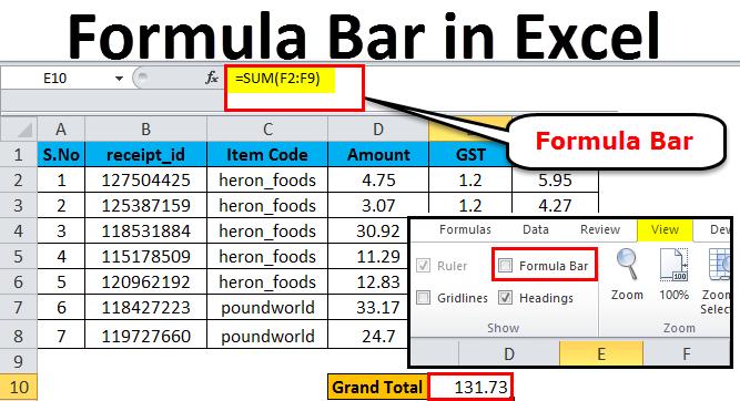 Formula bar example 1-3