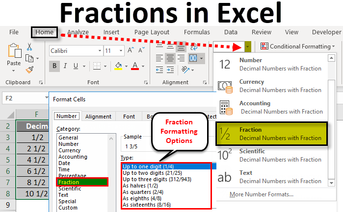 Fractions in Excel