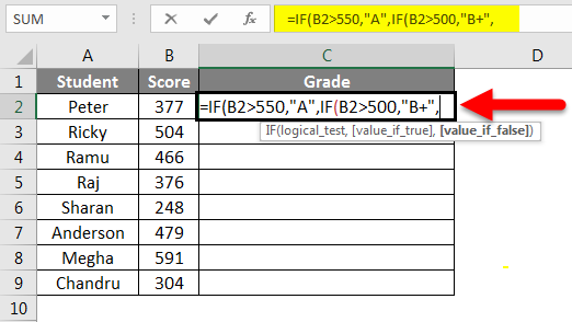 Grade Formula in Excel example 2-3