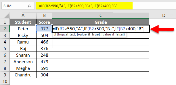 Grade Formula in Excel example 2-4