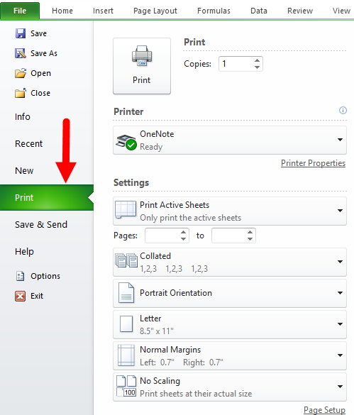 print options dialog box