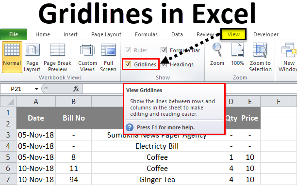 Gridlines in Excel | How to add and remove Gridlines in excel?