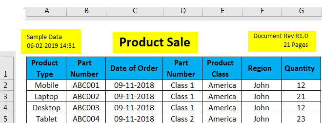 Header and Footer in Excel example 2-3
