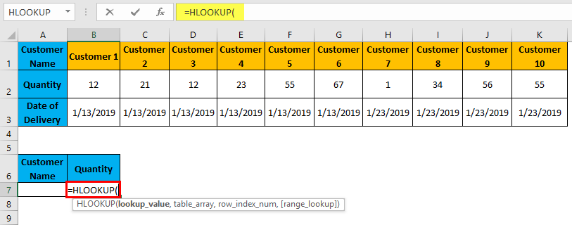 Hlookup Example 1-3