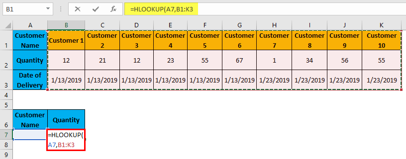 Hlookup Example 1-5