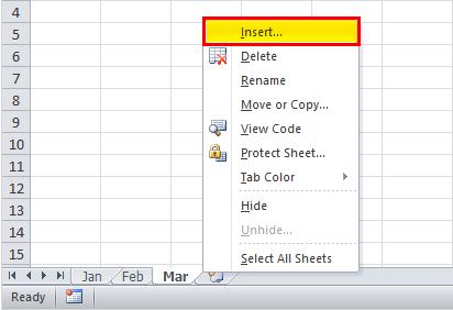Insert New Worksheet Example 2-1