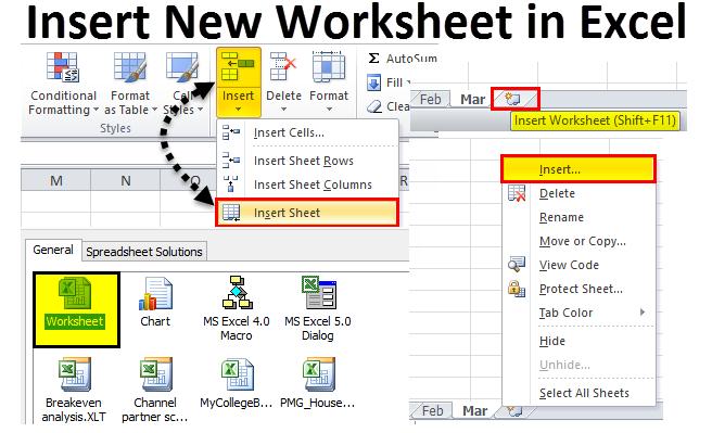 Insert New Worksheet in Excel (Methods)   How to Insert New