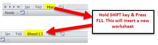 Insert New Worksheet Example 3-5