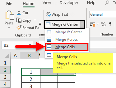 Merge Cells from drop-down