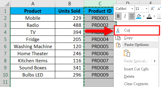 Move Columns in Excel example 2-2