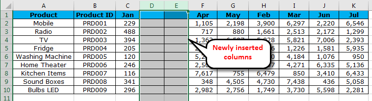 Move Columns in Excel example 3-2