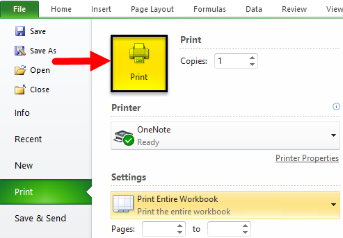 Print in Excel Example 1-4