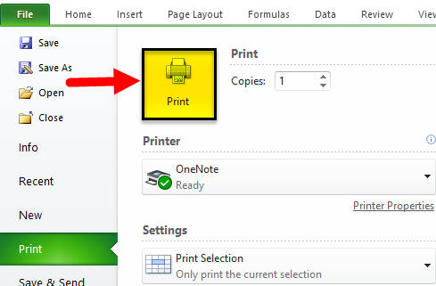 Print in Excel Example 2-5