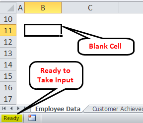 Excel status bar click on (Ready)