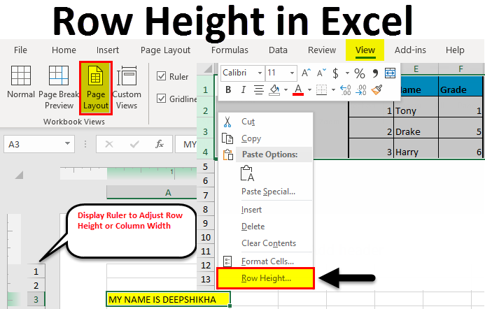 Row Height in Excel 1-10