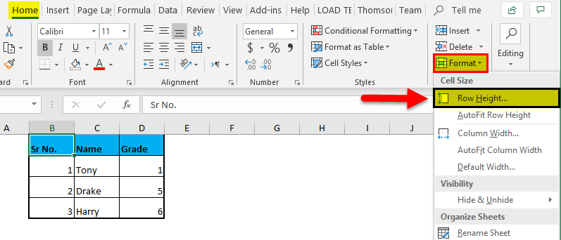 Row Height in Excel 1-4