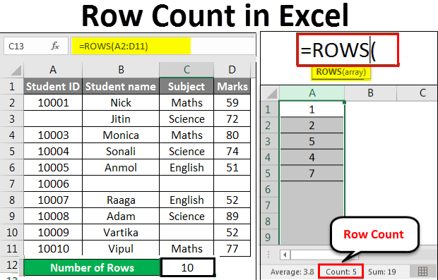 Row count example