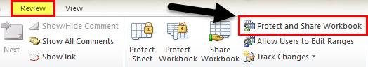 Protect and Share Workbook