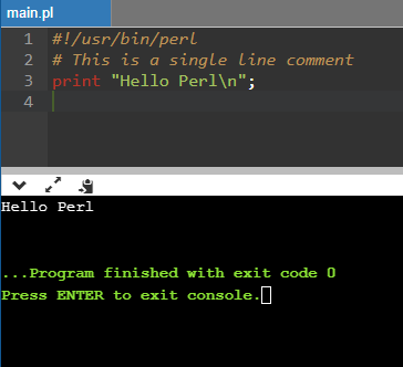 Single line comment in Perl
