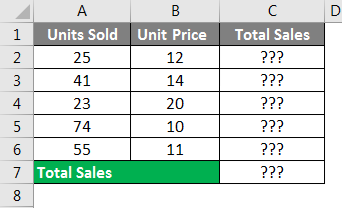 Spreadsheet Formulas in Excel example 1-1