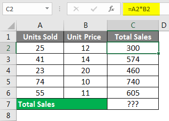 Spreadsheet Formulas in Excel example 1-2