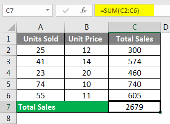 Spreadsheet Formulas in Excel example 1-3