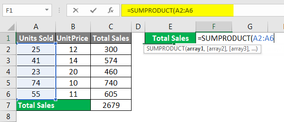 Spreadsheet Formulas in Excel example 1-5
