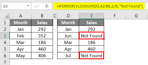 error values to Not Found