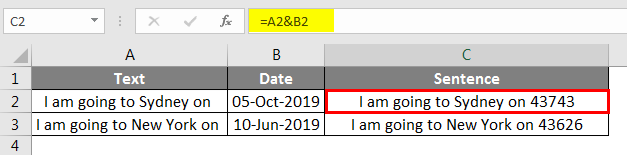 Combining dates with text