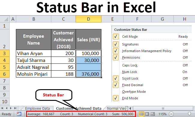 Status Bar in Excel