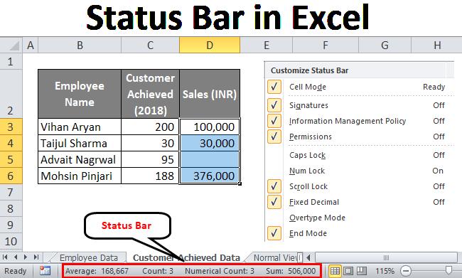 Status Bar in Excel
