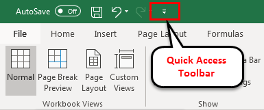 Toolbar in Excel(Quick Access Toolbar)