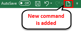 Toolbar in Excel (New command will add)