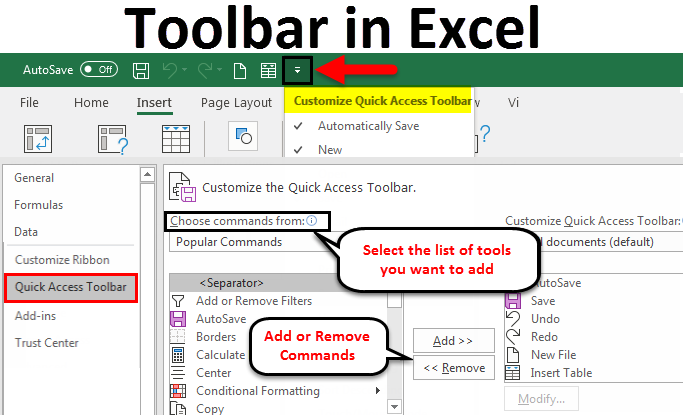 Toolbar in Excel example
