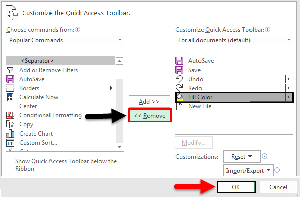Toolbar in Excel(Remove)