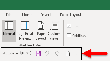 Toolbar in Excel (Toolbar is moved)