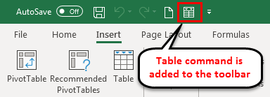 Toolbar in Excel example 5-2