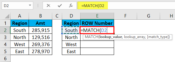 MATCH Function Example 2-2