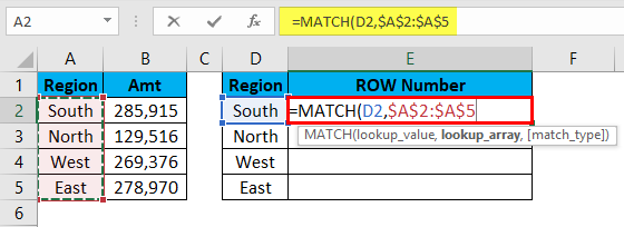 MATCH Function Example 2-3