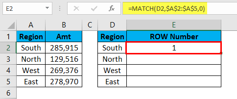 MATCH Function Example 2-5