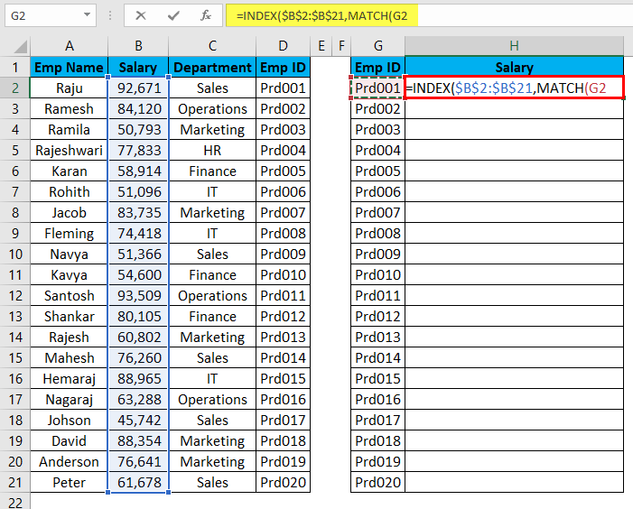 VLOOKUP Alternatives Example 4-5