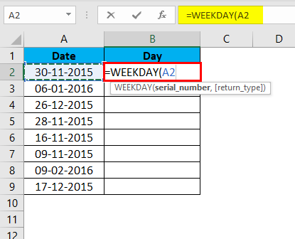 WEEKDAY Formula Example 1-3