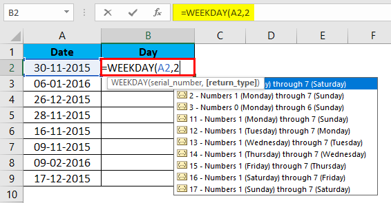 WEEKDAY Formula Example 1-4