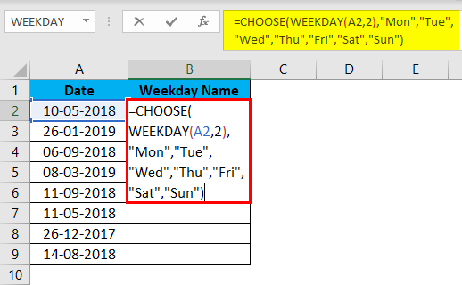 WEEKDAY Function Example 2-11