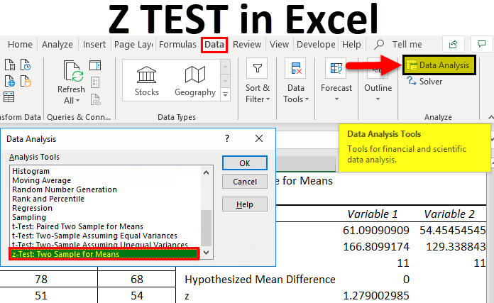 Z-TEST-in-Excel-1 Table Formatting Examples on data pivot, figures correct,
