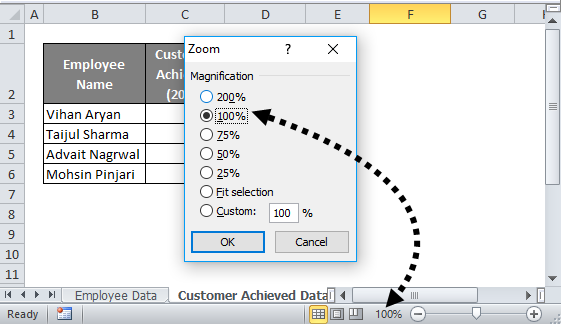Excel status bar (Zoom Percentage)